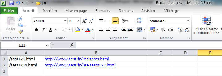 Fichier CSV